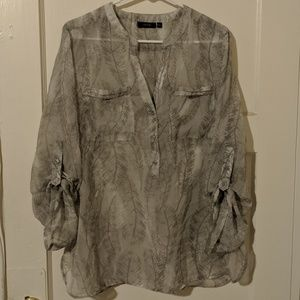 Apt 9 Size L Sheer Grey Feather Print Blouse